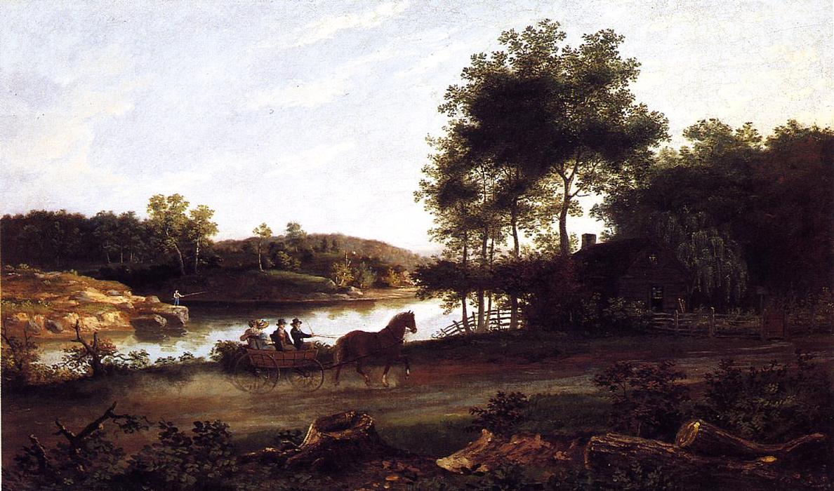 the` перевозка поездка домой, холст, масло по Thomas Birch (1779-1851, United Kingdom)