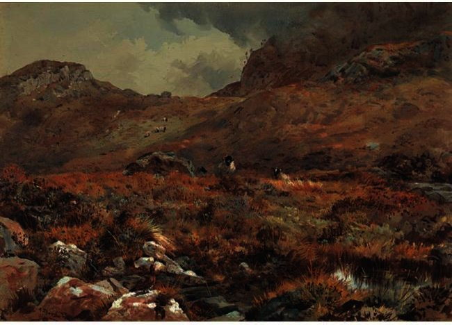 Овцы отдыха в Grouse Moor по Archibald Thorburn (1860-1935, United Kingdom)