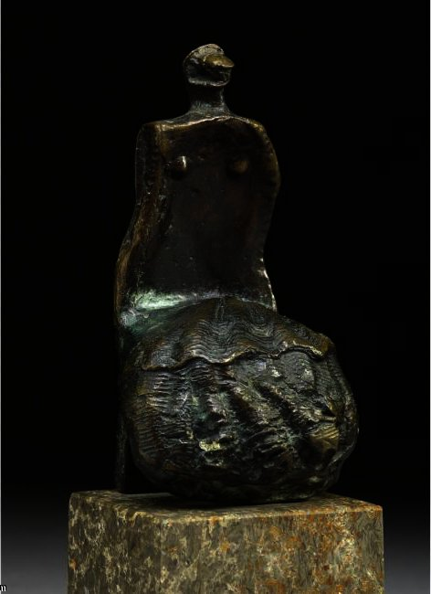 Сидящая женщина Оболочка  Юбка , масло по Henry Moore (1898-1986, United Kingdom)