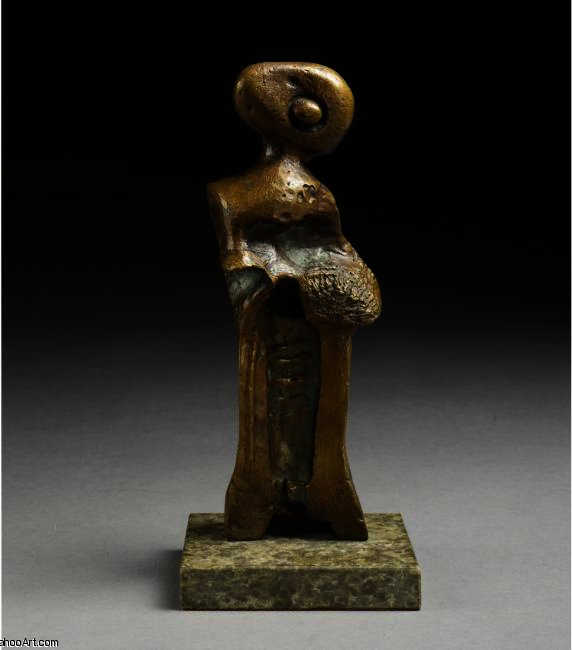 Стоя Girl капот  а также  Муфта , Иллюстрация по Henry Moore (1898-1986, United Kingdom)