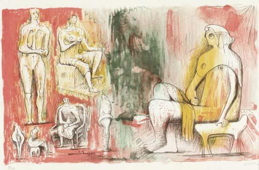 женщина, холдинг КОТ , масло по Henry Moore (1898-1986, United Kingdom)
