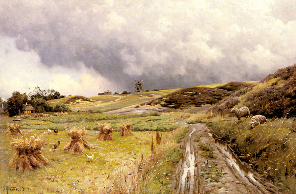 Pastoral Пейзаж после того, как a шторм по Peder Mork Monsted (1859-1941, Denmark) | ArtsDot.com