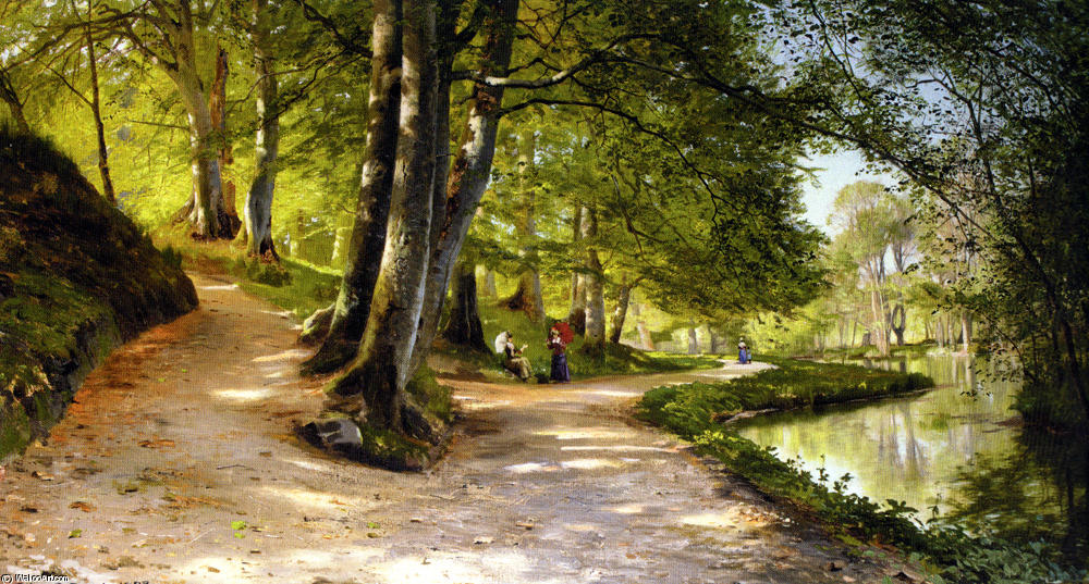 Ден Роде Paraply по Peder Mork Monsted (1859-1941, Denmark)