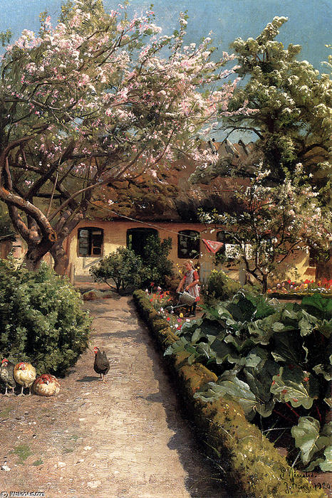 Полив сада по Peder Mork Monsted (1859-1941, Denmark)