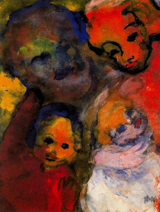 Семья с два  детьми  по Emile Nolde (1867-1956, Germany)