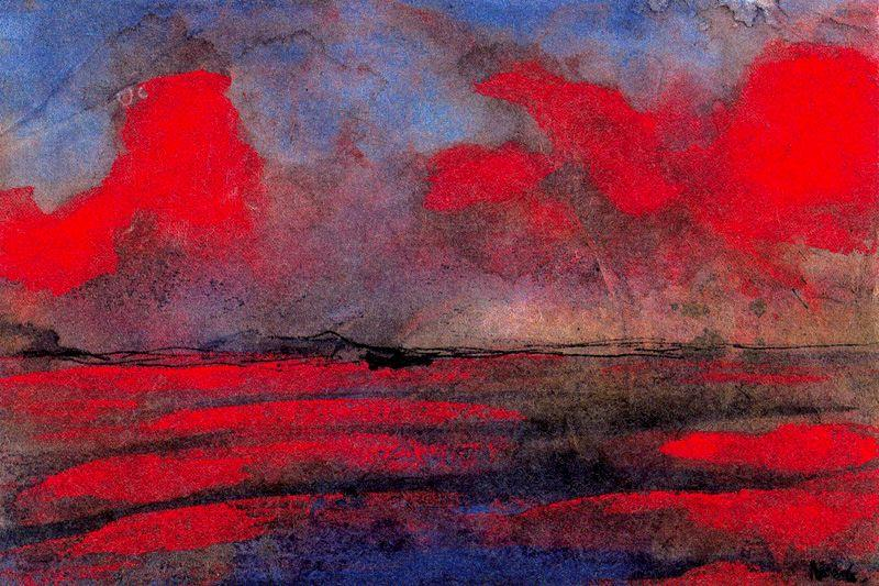 пейзаж Красную  Свет  по Emile Nolde (1867-1956, Germany)