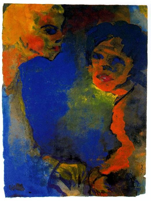 две женщины против     синий  небо  по Emile Nolde (1867-1956, Germany)