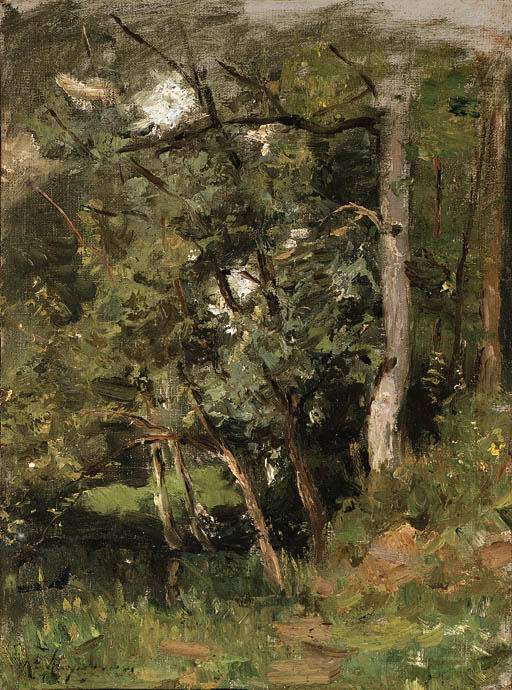Густой лес по Henri-Joseph Harpignies (1819-1916, France)