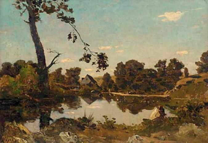 в early вечерний свет по Henri-Joseph Harpignies (1819-1916, France)