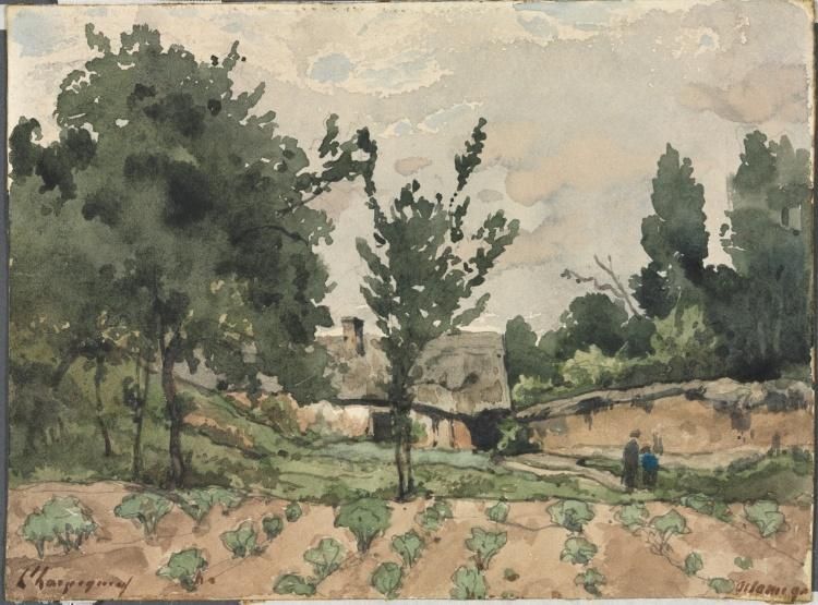 Пейзаж с фермы по Henri-Joseph Harpignies (1819-1916, France)