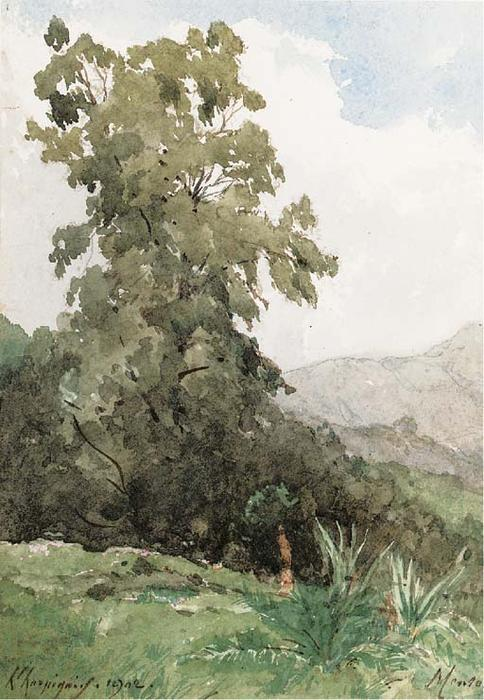 Ментон, Лазурный берег по Henri-Joseph Harpignies (1819-1916, France)