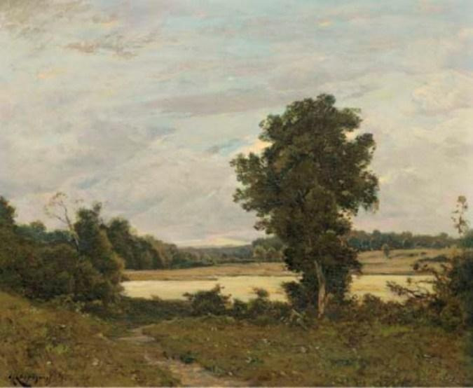 Банк of алье по Henri-Joseph Harpignies (1819-1916, France)