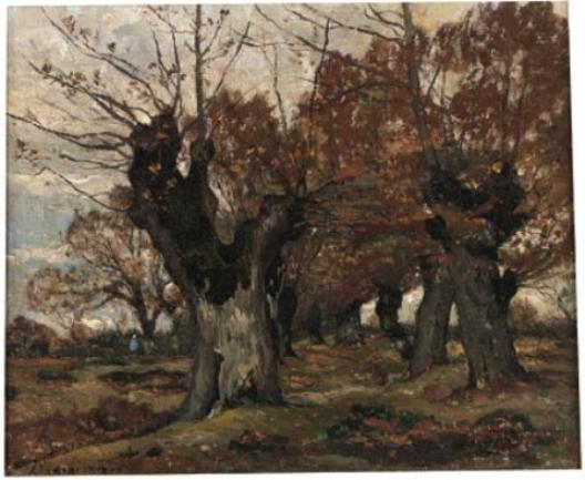 ива в пейзаж по Henri-Joseph Harpignies (1819-1916, France)