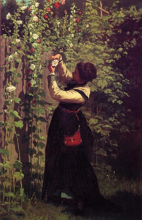 Занимаясь пчела по Jonathan Eastman Johnson (1824-1906, United Kingdom)