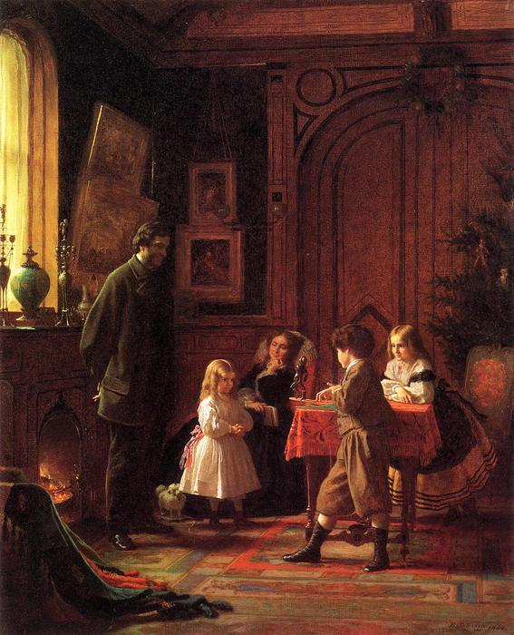 Christmas Time (ака Блоджетт Семейный) по Jonathan Eastman Johnson (1824-1906, United Kingdom)