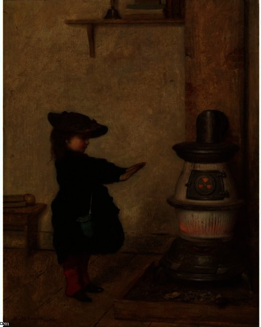 Потепление ее руки по Jonathan Eastman Johnson (1824-1906, United Kingdom)