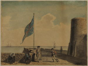 Paul Sandby - Naval post с тремя солдат..