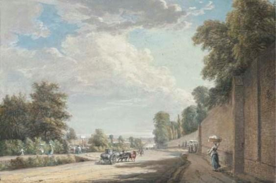 Bayswater Road, Paddington по Paul Sandby (1798-1863, United Kingdom)