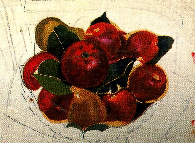 Apples и груш на Стул по Stanley Spencer (1891-1959, United Kingdom)