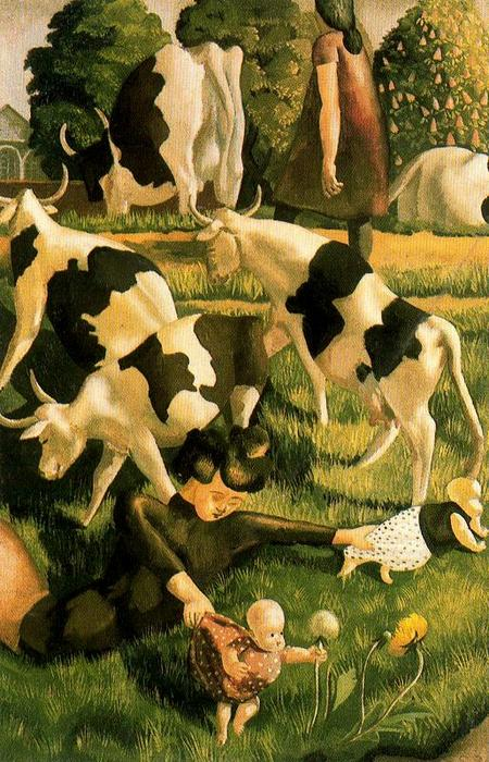 Коровы на Cookham по Stanley Spencer (1891-1959, United Kingdom) | ArtsDot.com