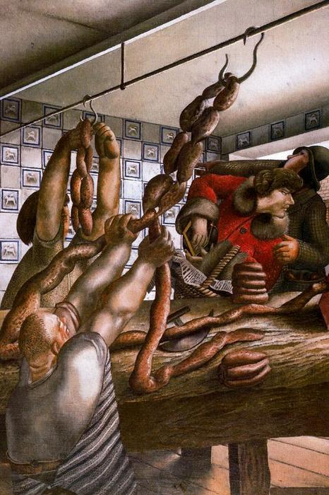 Колбасный цех по Stanley Spencer (1891-1959, United Kingdom)