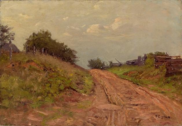 серый день у ворот Кстати ( hill road ) по Theodore Clement Steele (1847-1926, United States)