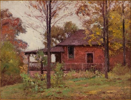 дождливый день , В Home по Theodore Clement Steele (1847-1926, United States)