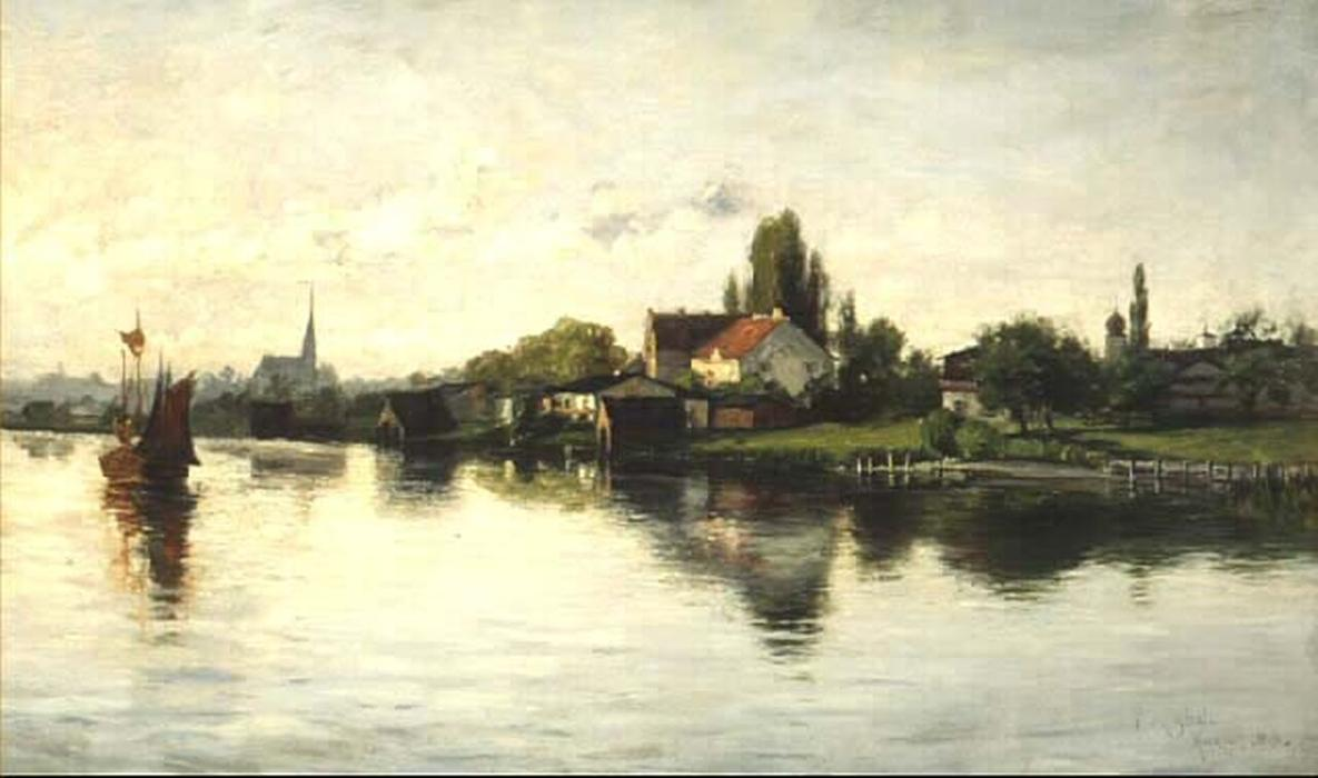Деревня Schliersee Нагорье  по Theodore Clement Steele (1847-1926, United States)