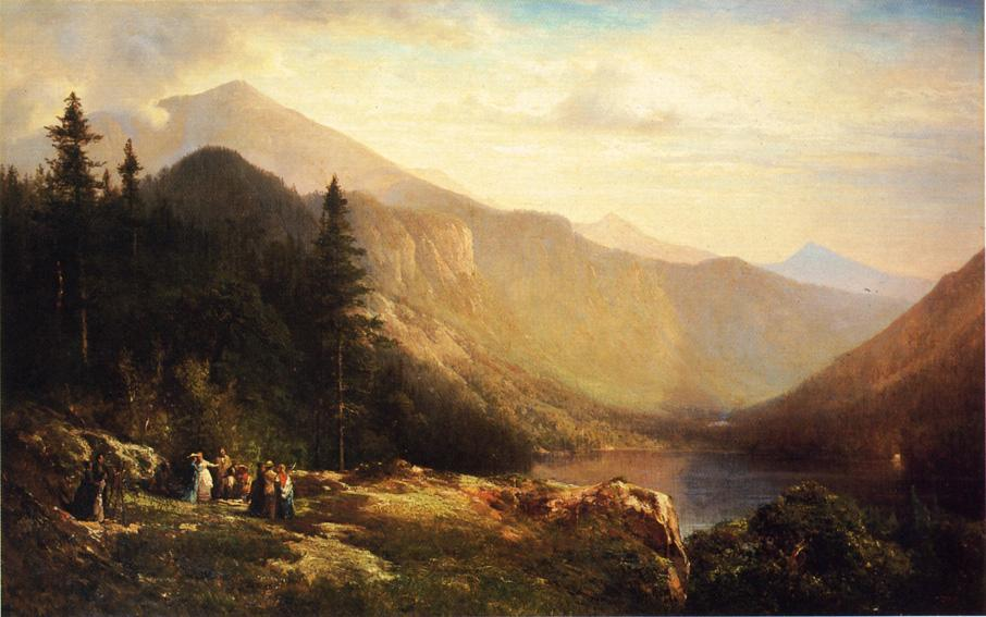 Artist's вид mt . Lafayette по Thomas Hill (1829-1908, United Kingdom)