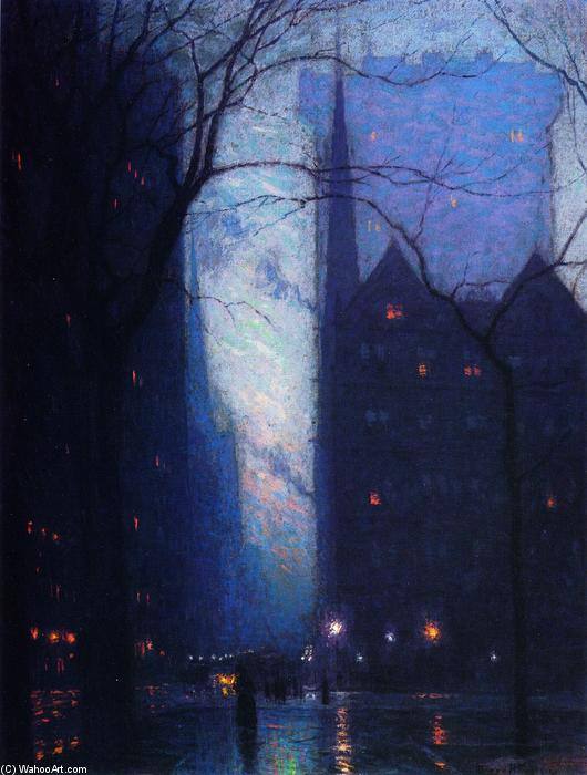 Пятая авеню в сумерках, 1910 по Lowell Birge Harrison (1854-1929, United States)