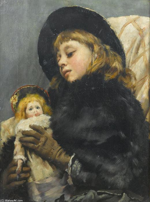 Девушка с куклой по Thomas Benjamin Kennington (1856-1916, United Kingdom)