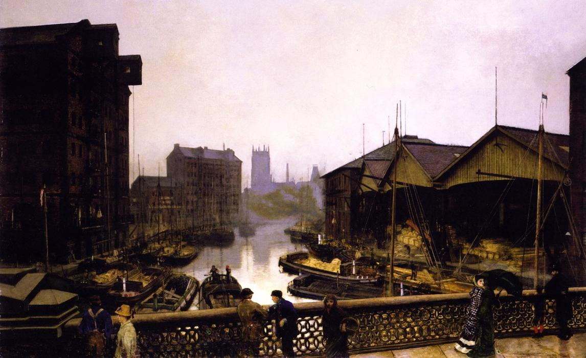 Лидс мост, холст, масло по John Atkinson Grimshaw (1836-1893, United Kingdom)