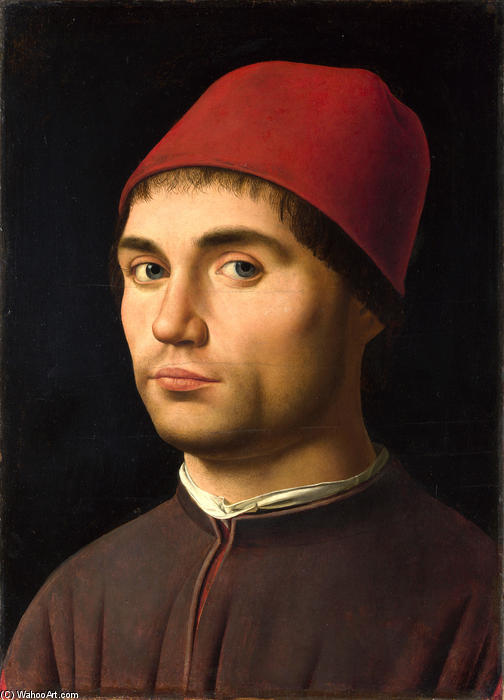 Портрет мужчины 9  , масло по Antonello Di Giovanni Di Antonio (Antonello Da Messina) (1430-1479, Italy)