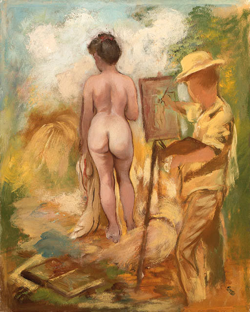 Художник и модель, 1928 по George Grosz (1893-1959, Germany)      ArtsDot.com