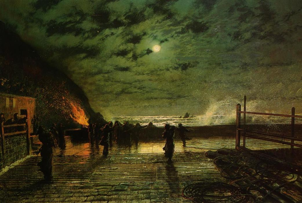 в опасности ( порт flare ), холст, масло по John Atkinson Grimshaw (1836-1893, United Kingdom)