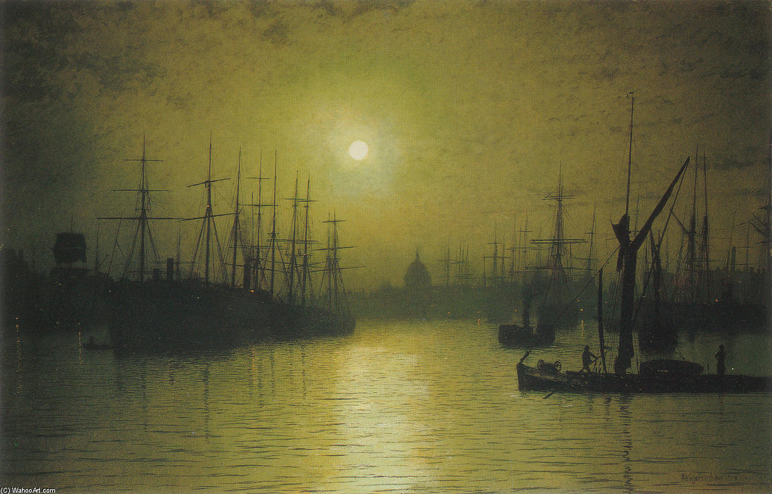 Сумерки на Темзе, 1880 по John Atkinson Grimshaw (1836-1893, United Kingdom)