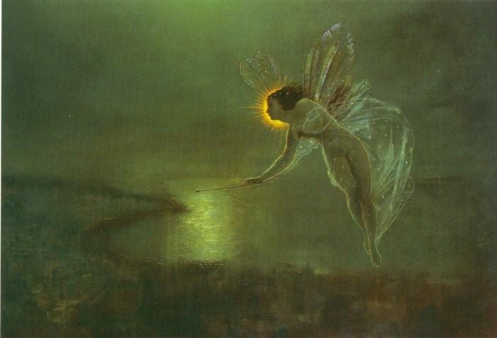 дух тем  Ночь на , 1879 по John Atkinson Grimshaw (1836-1893, United Kingdom)