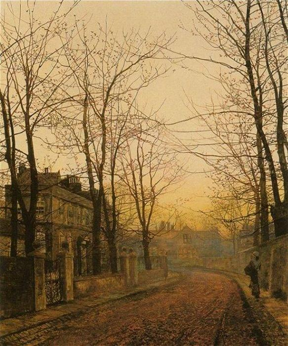 Осень Идиллия, 1885 по John Atkinson Grimshaw (1836-1893, United Kingdom)