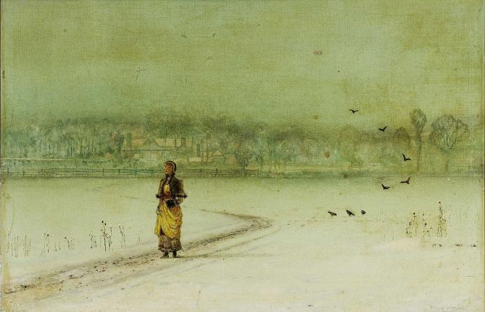в Зимний  по John Atkinson Grimshaw (1836-1893, United Kingdom)