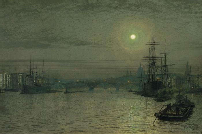 Лондонский Мост Ночь на  по John Atkinson Grimshaw (1836-1893, United Kingdom)