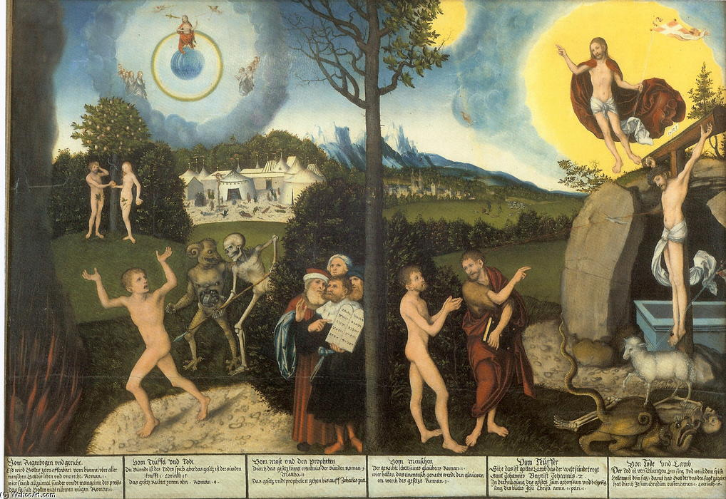 Закон и Благодать, 1529 по Lucas Cranach The Elder (1472-1553, Germany)