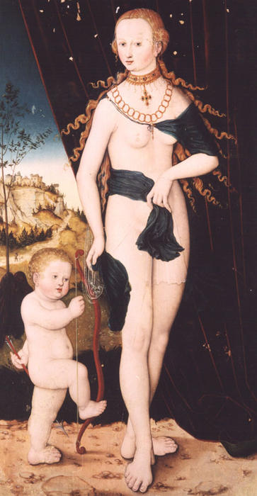 Венера и Амур по Lucas Cranach The Elder (1472-1553, Germany)