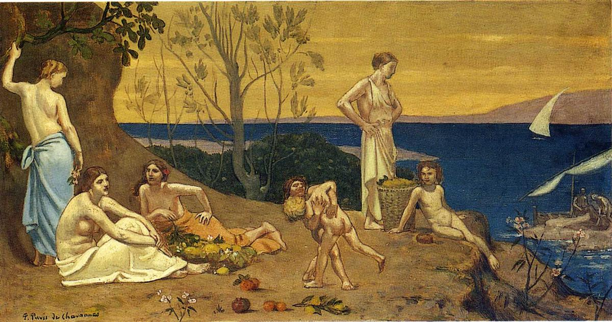 счастлив страна, 1882 по Pierre Puvis De Chavannes (1824-1898, France)