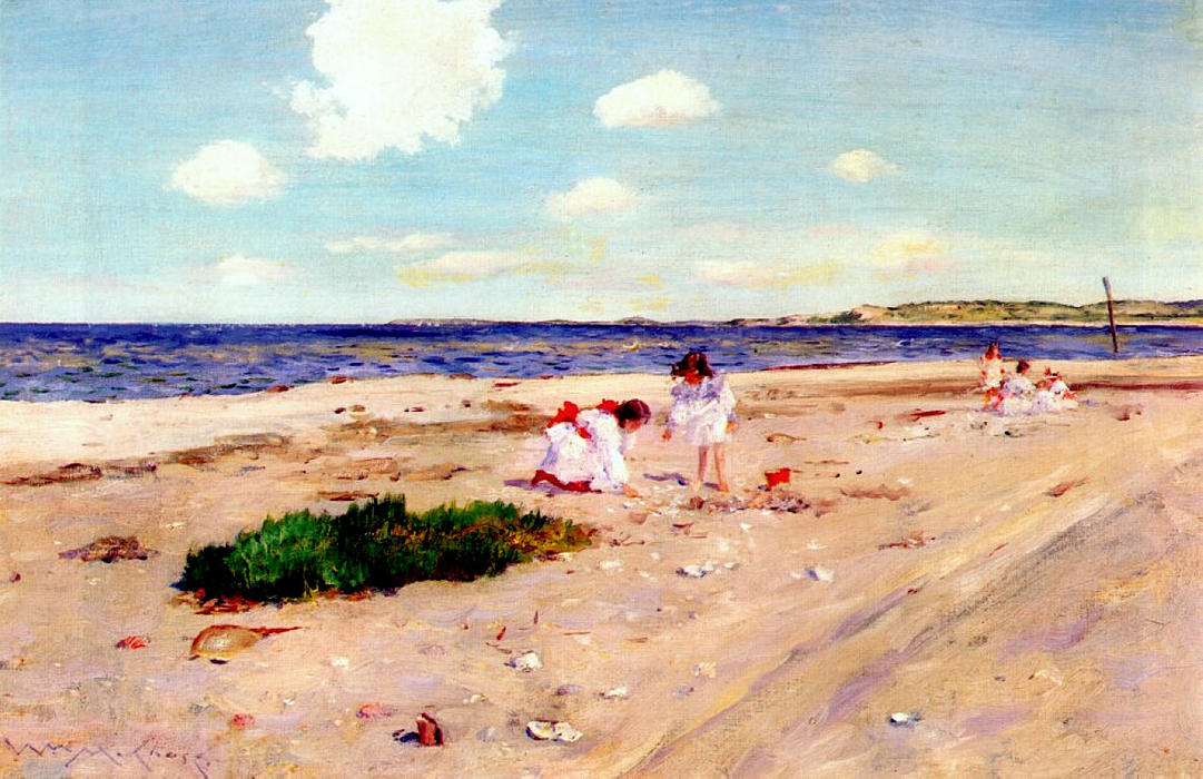 Пляж Shell в Shinnecock, 1892 по William Merritt Chase (1849-1916, United States)