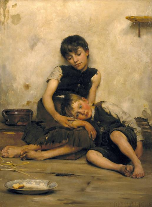 Дети-сироты, 1885 по Thomas Benjamin Kennington (1856-1916, United Kingdom)