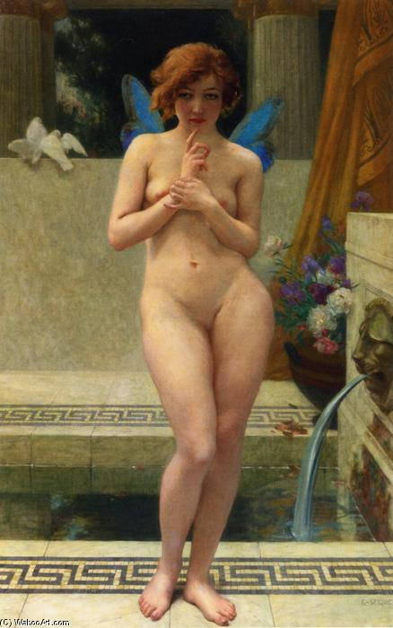 Психея на a Fountain, холст, масло по Guillaume Seignac (1870-1924, France)