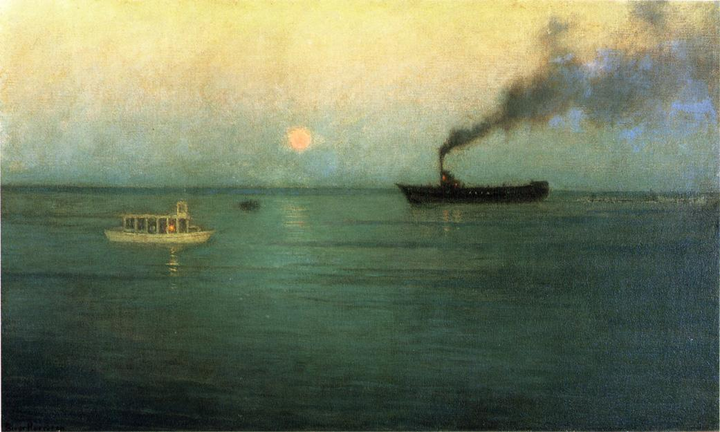 розовая Луна  от  Чарльз  гавань , картина по Lowell Birge Harrison (1854-1929, United States)