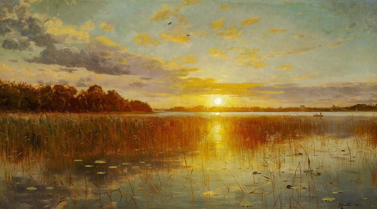 Sunset over a Датский фьорд, холст, масло по Peder Mork Monsted (1859-1941, Denmark)