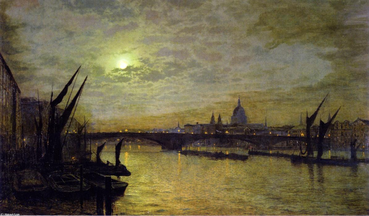 Темза в лунном свете с Southwark Bridtt, 1884 по John Atkinson Grimshaw (1836-1893, United Kingdom)