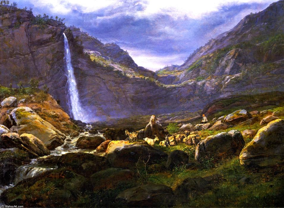 Вид на Feigumfoss в Lysterfjord, 1848 по Johan Christian Clausen Dahl (1788-1857, Denmark-Norway)